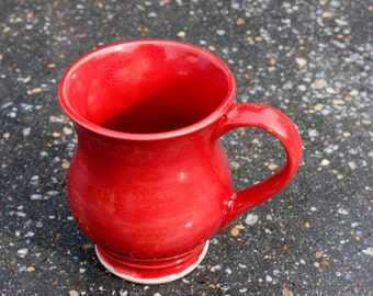 12 oz Mug - Gloss Red in and outside of cup - High Fire stone ware
