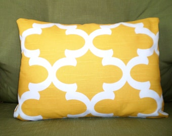 Yellow White Lumbar Pillow Cover, Throw Pillow Cushion Cover Lumbar Corn Yellow and White Fynn Moroccan, Couch Bed Sofa,  12 x 16 or 12 x 18