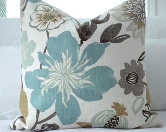 One-Sided -KRAVET JELLYBEAN-- Decorative Designer Pillow Cover - Turquoise/Aqua/Seafoam/Ivory and Neutrals