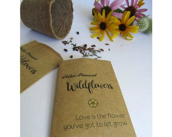 Wedding Favor Wildflower Seeds, Organic Native Perennial Flower Seed Favors, Monarch Butterfly Guest Favors / Set of 10 Seed Packs / (Sym40)
