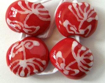 Okawa Ceramic Bead set in Red Protea pattern