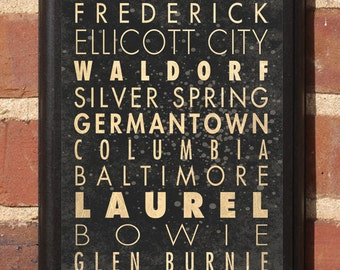 Maryland Cities Wall Art Sign Plaque Gift Present Home Decor Vintage Style MD Baltimore Bethesda Frederick Silver Springs Landover Classic