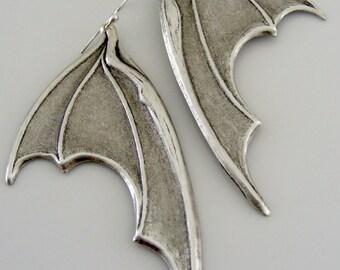 Silver Earrings - Bat Earrings - Dragon Wing Earrings - Statement Earrings - Goth Earrings - handmade jewelry