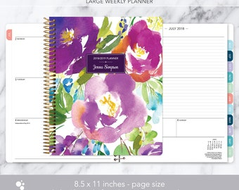 8.5x11 weekly planner 2018 2019   choose your start month   12 month calendar   LARGE WEEKLY PLANNER   violet watercolor floral