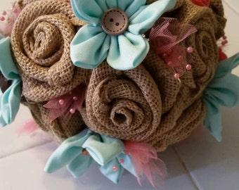 Burlap Bouquet, Burlap Bridesmaid Bouquet, Burlap Rose, Fabric Flower, Fabric Rose, Handmade Bouquet, Custom Flower, Rustic Wedding