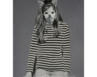 One of a Kind Paper Collage Weird Cat Art 8.5 x 11 Inch Black and Gray Animal in Clothes Retro Mod Art, frighten