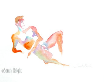Original Watercolor, 25% OFF SALE!, nude, male, painting, frontal, life, model, figure, man, reclining, home decor, wall art, unframed, gift