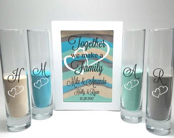 Blended Family Wedding Sand Ceremony Shadow Box Set, Unity Candle Alternative, Together We Make a Family, Blended Family Sand Frame and Sand