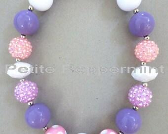 Little Girls Chunky Necklace, Girls Bubblegum Chunky Necklace, Lavender Chunky necklace,Girls Bubble Gum Bead Necklace,Children Necklace.