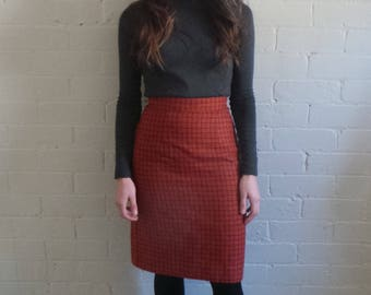 Classic Red Check Pencil Skirt
