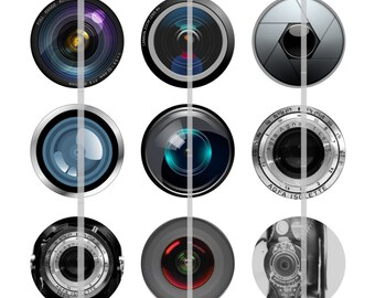Camera Lens Magnets/Camera Lens Pins/Camera Lens Flat Backs/Photographer/12 ct. Set