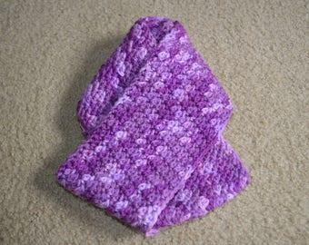Handmade Purple Crochet  Infinity Cowl Winter Scarf