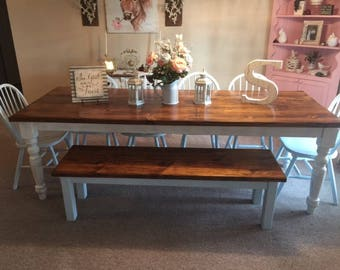 8 Foot Farm Table Handmade Dining Table With 2 Benches