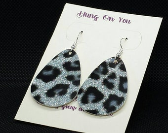 Black and silver leopard print earrings