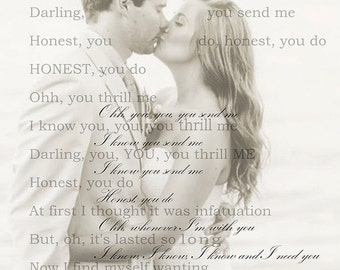 Custom Love and Lyrics Print- YOUR Photo and the Lyrics YOU want- Unique Gift for Valentine's Day, Wedding Keepsake Gift