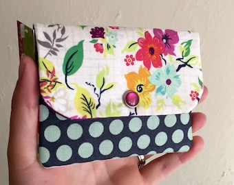 Floral Print with Polka Dots - Cash and Card Wallet with Zipper
