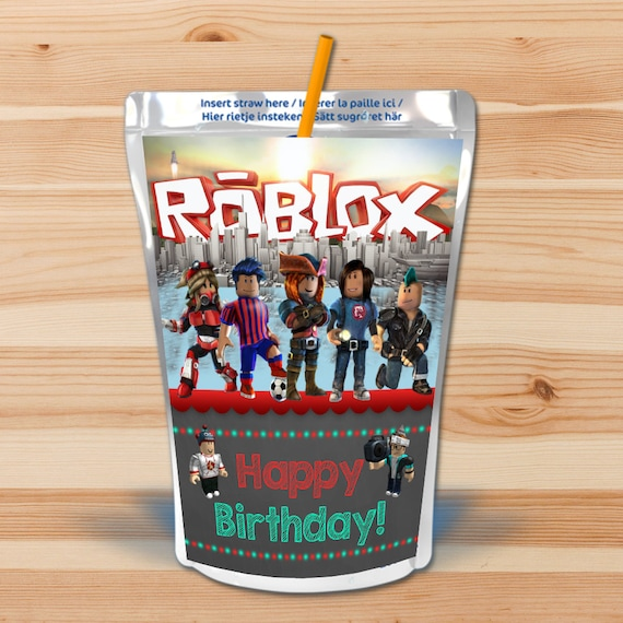 Roblox Birthday Capri Sun Labels - Chalkboard - Roblox Drink Pouch Labels - Roblox Birthday Party - Roblox Party Favors - Roblox Printables