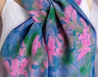 silk scarf Pink Jade Azaleas hand painted unique crepe pastel wearable art long wearable art women