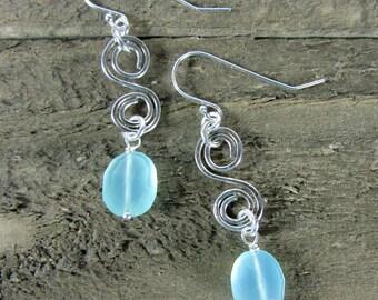Chalcedony Earring, Simple Sterling Silver Dangle, Blue Dangle Gemstone Earring