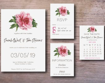 Floral wedding invitation printable set – PDF downloads - save the date, rsvp, wedding invites