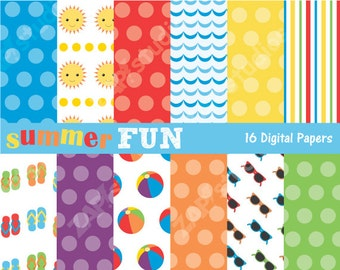 Summer Fun Paper Pack - 12 Digital Papers - Instant Download