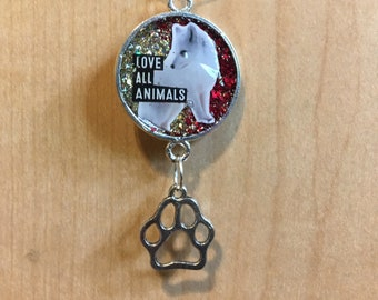 """New Style, Love All Animals, Fox """"Charmers"""" Pendant, arctic fox necklace, 50% of the proceeds goes to the current focus charity"""