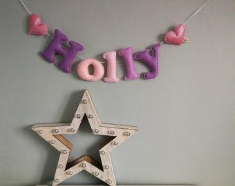 Glitter felt name bunting - name garland - felt name garland - baby gift - baby decor - handmade - made in UK - made to order