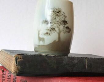 Highbank Pottery Lochgilphead Stag Posy Bud Vase, Vintage Scottish Pottery