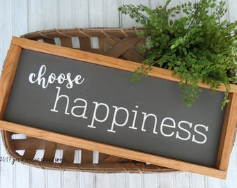 CHOOSE HAPPINESS sign | Handmade | Rustic | Stained | Painted | Distressed | Wood | Framed