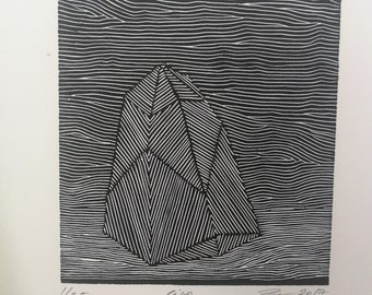 Crystal, levitation, abstract, geometric, print, art gift, wall decor, linocut, art , relief print,black & white