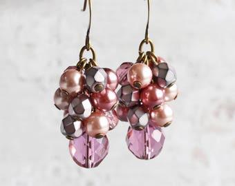Dusty Rose Earrings, Pink Dangle Earrings on Antiqued Brass Hooks, Cluster Earrings, Mauve Pink Earrings, Beaded Bridal Jewelry