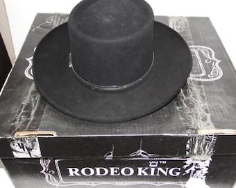 rodeo king hat - rodeo hat - black hat - vintage hats