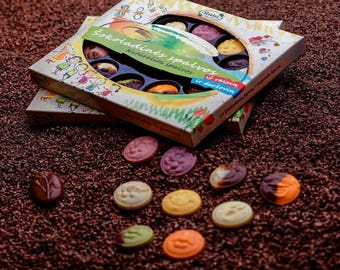 """Chocolate """"PALETTE OF COLOURS"""", 130g/4.58oz, slices with 10 flavors, Chocolata Gift for Kids, Birthday gift"""