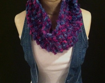 Crocheted Bobble Cowl/Neckwarmer/Infinity Scarf - FREE U.S. SHIPPING