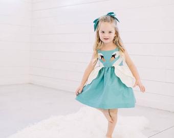Girl's Swan Princess Dress// Girls Swan Dress// Blue Taffeta Swan Party Dress// Girls Handmade Clothing// Teal Blue Dress