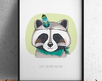 A3 Size Nursery Print - Little Dreamer Raccoon (Unframed)