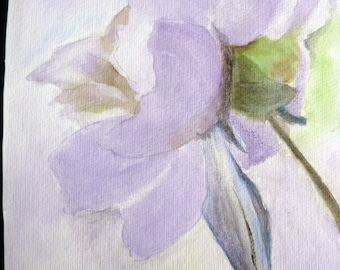 watercolor of a purple blue pink bloom