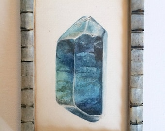 """Framed Original Watercolor Painting- """"Blue Apetite"""", 4x6 inch"""