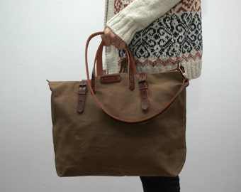 waxed canvas bag/tote bag/ with leather handles and closures,snuff brown color