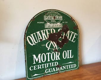 Double sided porcelain quaker state oil tombstone sign