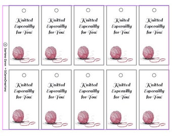 Knitted Especially For You Gift Tags  Printable PDF - Instant Download