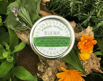 Rescue Salve | HERBAL FIRST AID | All Purpose | Natural | Cuts, Scrapes, Rash, Blisters, Bruises, Bug Bites | Parents, Kids | Diaper Rash |