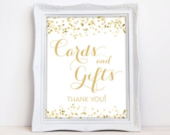 Gold Cards Gifts Sign - INSTANT DOWNLOAD - Gift Table Sign - Reception Sign - Gold Confetti - Digital Sign - Downloadable - The Catalina