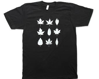 Black Tshirt - Mens Black Tree Leaf Shirt - Made in America Shirt - Small, Medium, Large, XL, 2XL