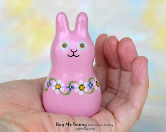 Bunny Rabbit Figurine, Handmade Miniature Bunny Rabbit Sculpture, Mauve Pink Floral, Personalized Tag, Hug Me Bunny, Animal Charm Figure