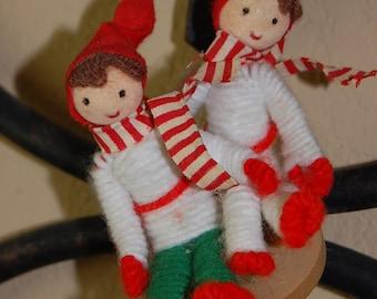 vintage Christmas sledding ornament, yarn,