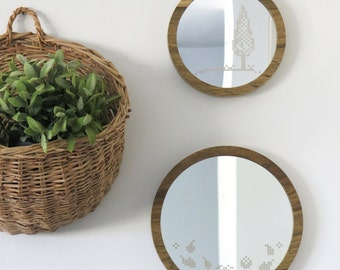 Round wooden mirror // Flowers Cross stitch pattern // Acrylic home decor mirror // Minimalistic vintage style // Natural wood wall mirror