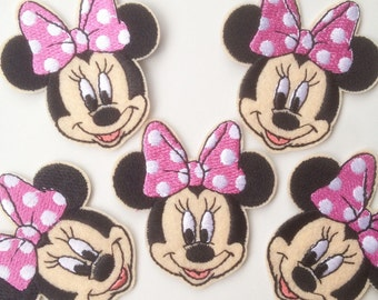 7x7.2cm 10pcs Minnie Mouse pink bow Iron On Sew On Embroidered Patches  Appliques Machine