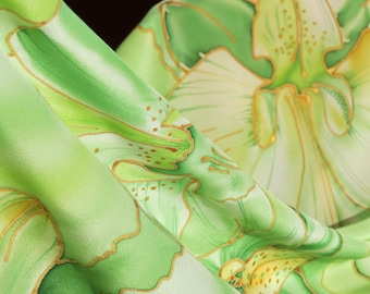 """Silk scarf of """"Orchid young Midori"""" batic. manual list of silk, Hand painted silk scarf"""