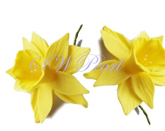 Daffodil Sugar Flowers Edible Wedding Birthday Cake Cupcake Toppers